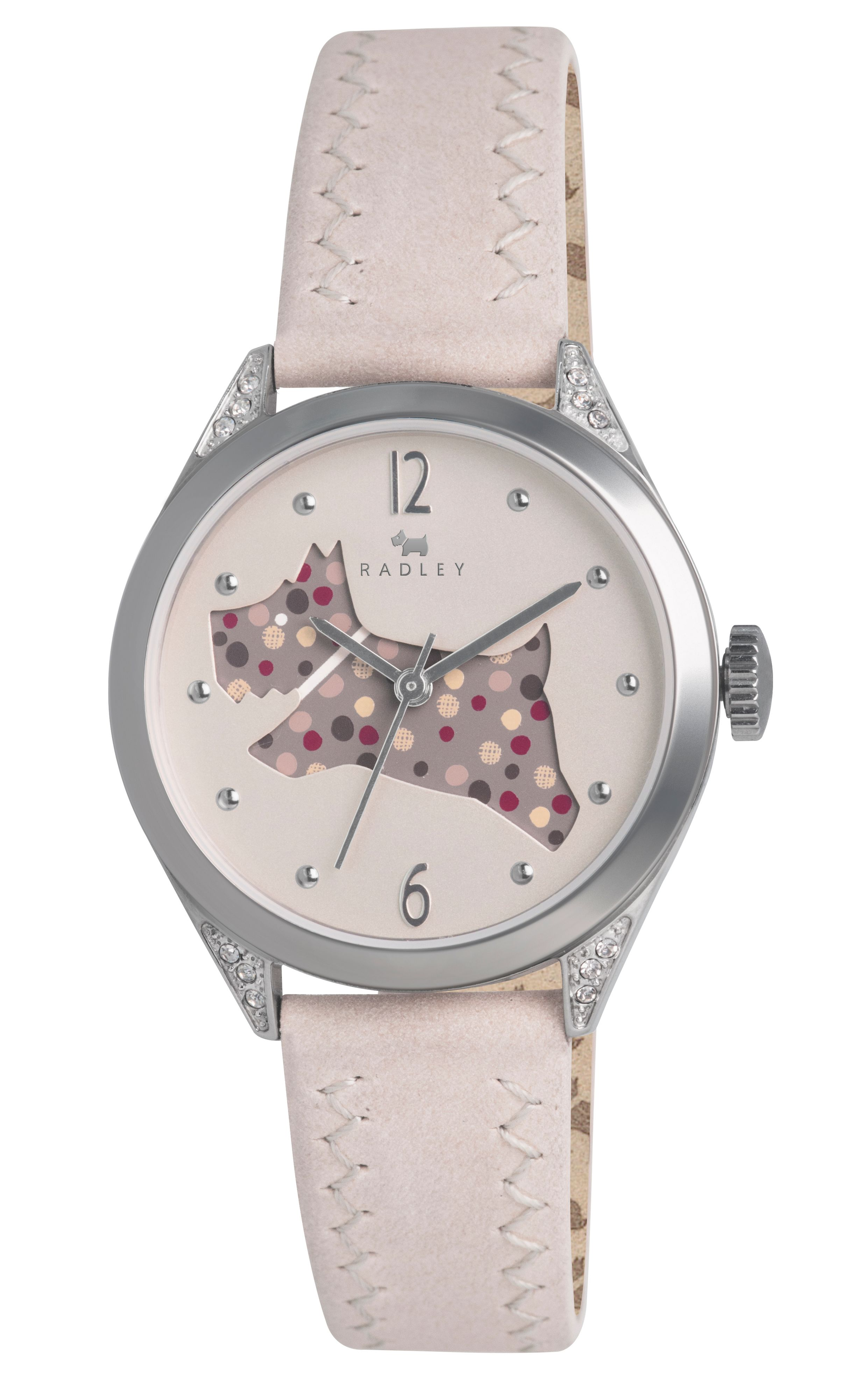 Radley cream cut through dog leather strap watch