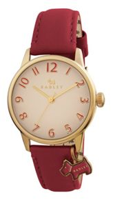 Radley rY2250 Ladies red leather strap dog charm watch