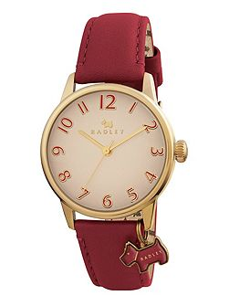 rY2250 Ladies red leather strap dog charm watch