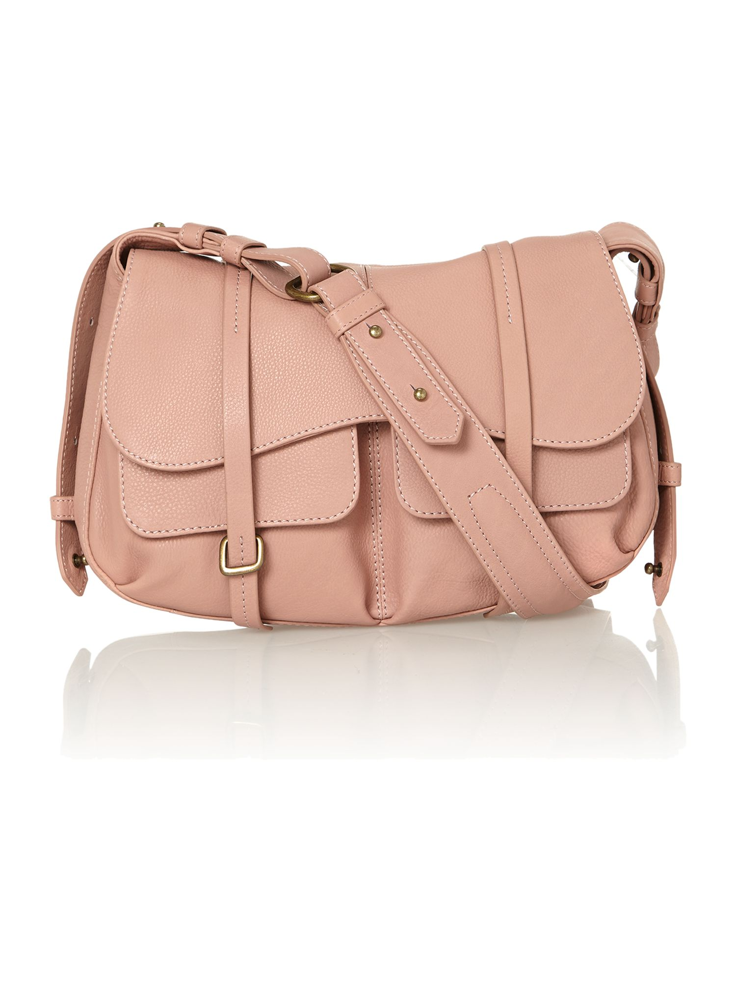 Pale pink medium flapover shoulder bag