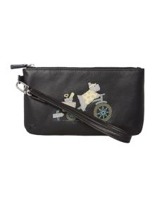 To the beach black wristlet pouchette