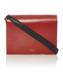Portman red medium flapover shoulder bag