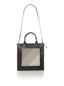 Border weave large black cross body tote bag