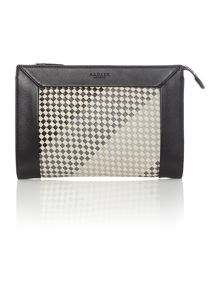 Border weave black medium clutch bag