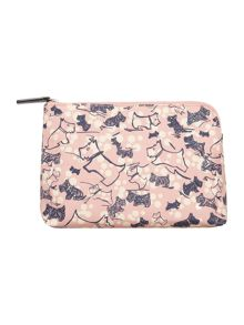 Cherry blossom dog pink medium zip pouch
