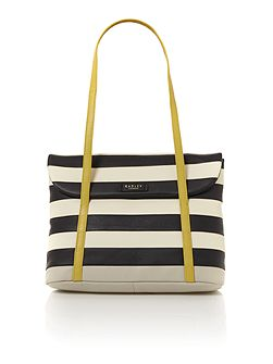 Putney black medium flap over tote bag