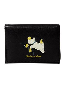 Apple and pears black small credit card holder