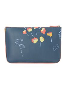 Botanical multi coloured large zip cosmetic case