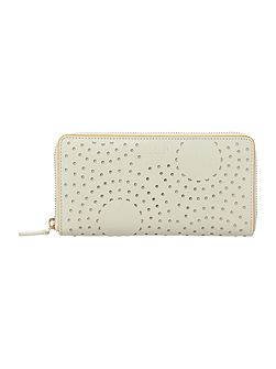 Broderie Anglaise Ivory large zip around purse