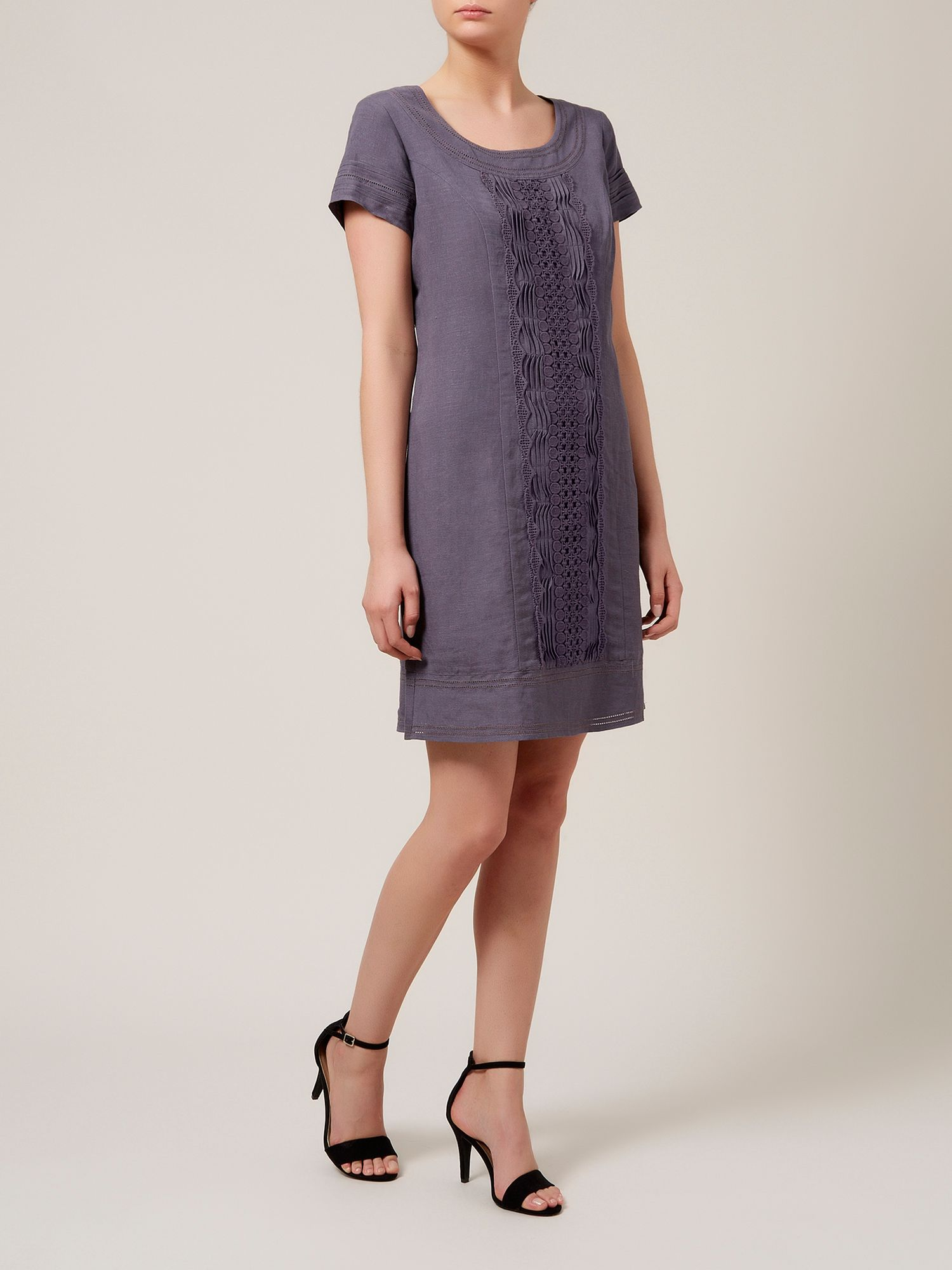 Linen pintuck shift dress