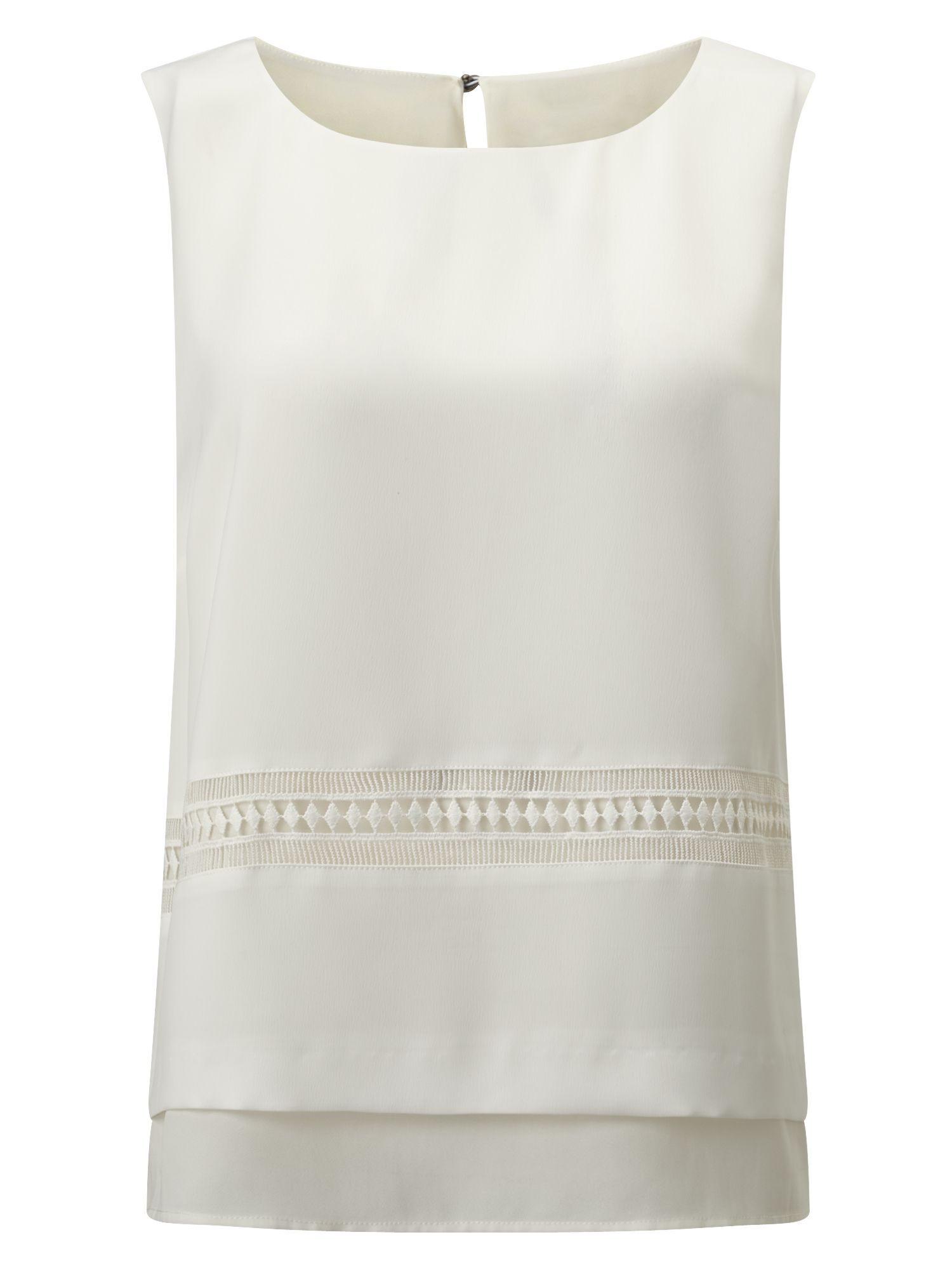 Eastex Sleeveless Trim Detail Blouse, Neutral
