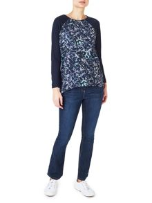 Dash Broken Floral Woven Mix Top