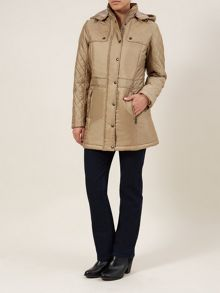 Taupe 3/4 Length Drawstring Coat
