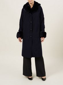 Navy 3/4 Fur Trim Padded Mac