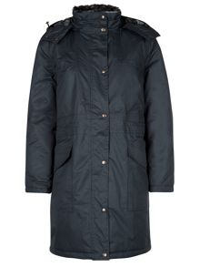 Navy Long Padded Waterproof Coat