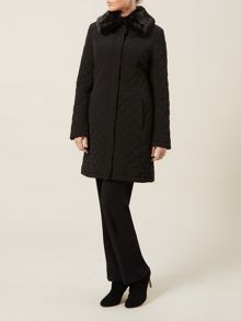 Black Faux Fur Collar Quilted Coat