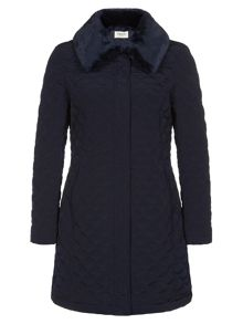 Navy Fur Collar Quilted Coat