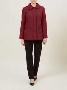 Red Basketweave Quilted Coat