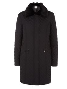 Black Basketweave Quilted Coat