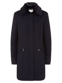 Navy Basketweave Quilted Coat