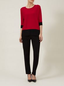 Red & Black Colour Block Sweater