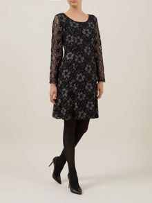 Two Colour Lace Skater Dress