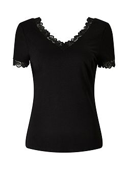 Sahara Black Lace Trim V Neck