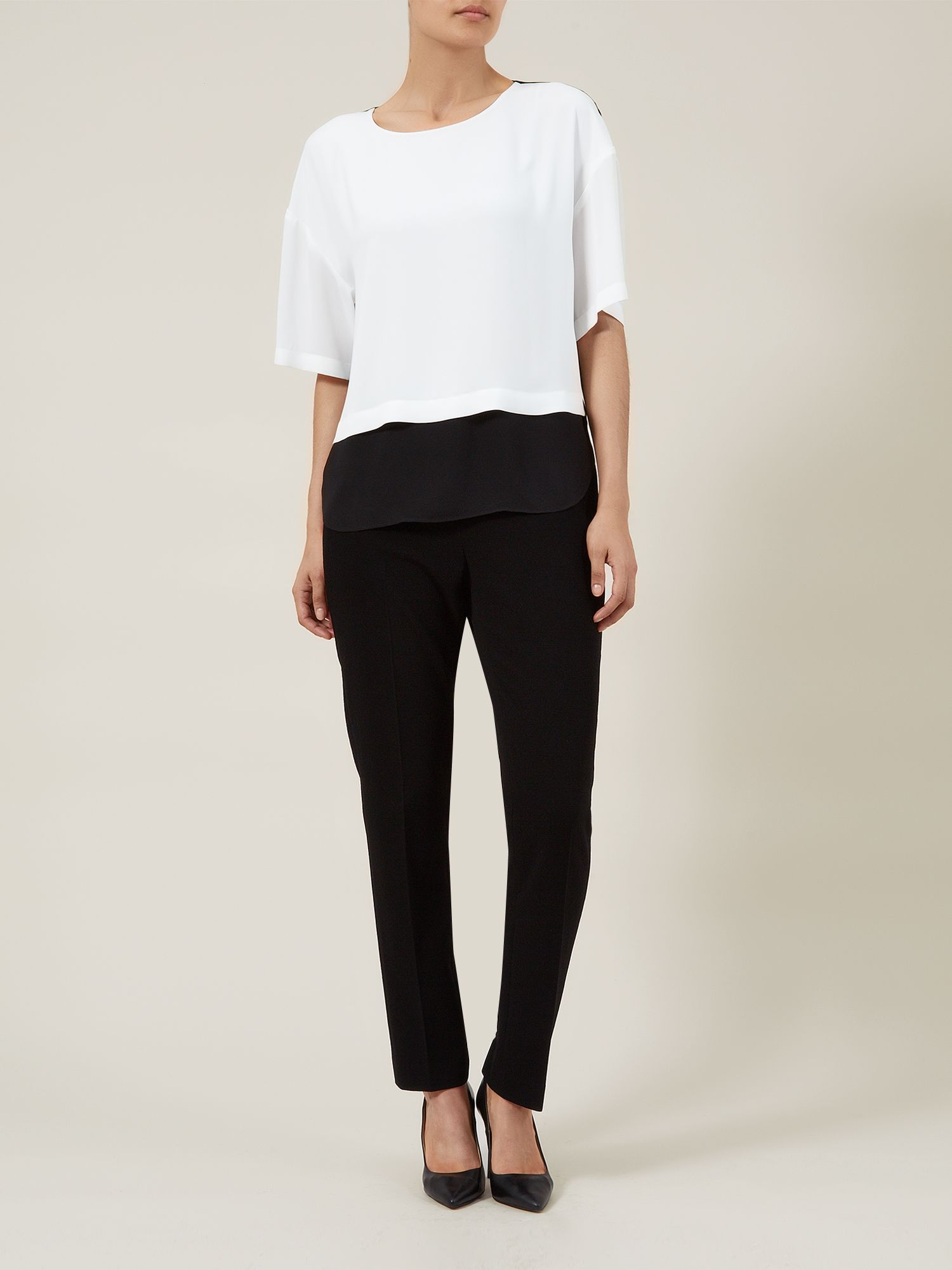 Ivory & Black Colour Block Blouse