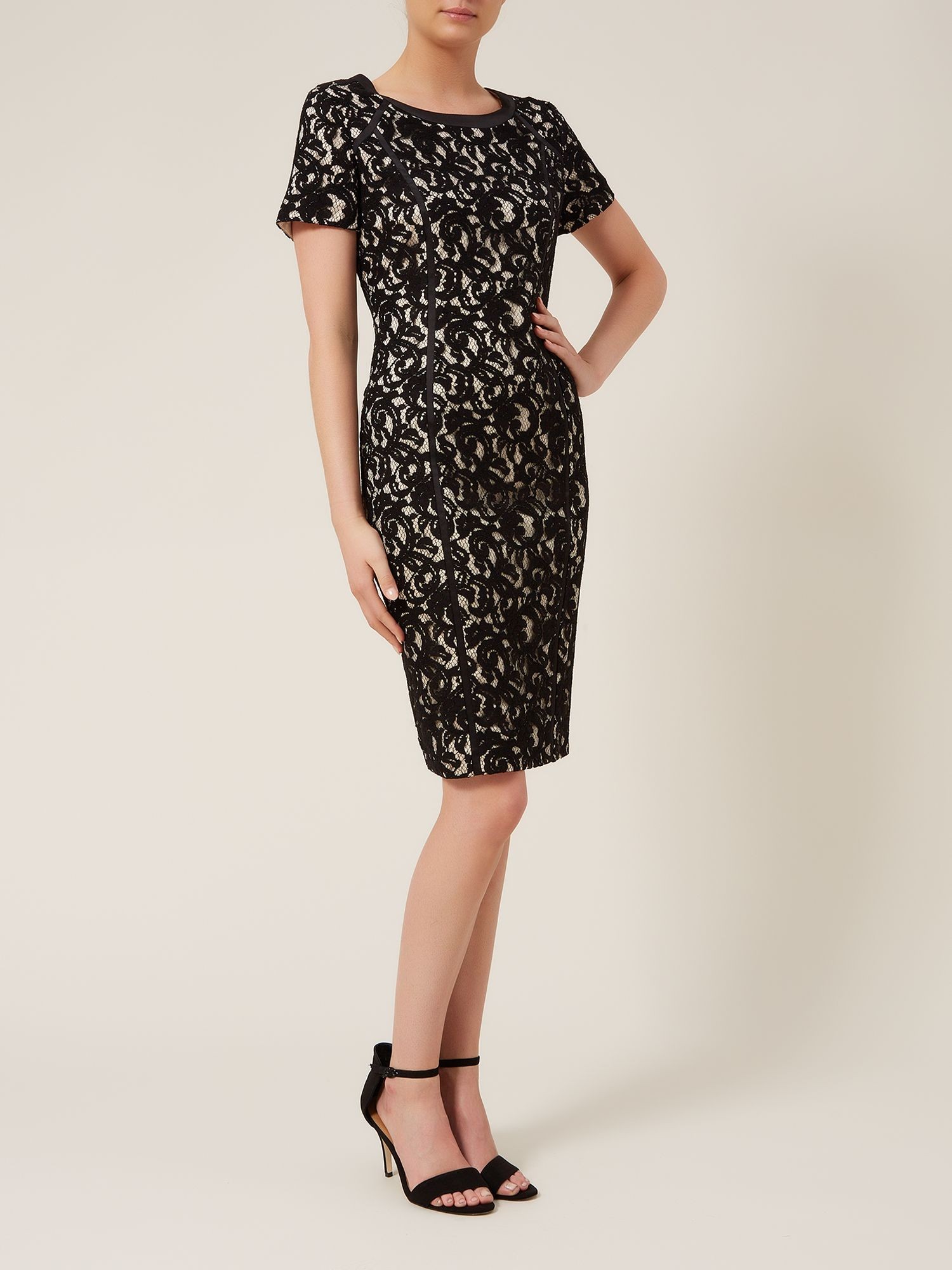 Champagne & Black Lace Shift Dress