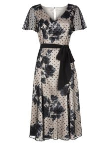 Floral Shadow Spot Dress