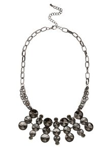 Gunmetal Circle Stone Necklace