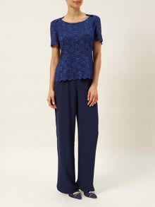 Navy Sequin Lace Top