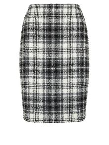 Boucle Check Pencil Skirt