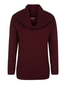Chunky Claret Roll Neck Jumper