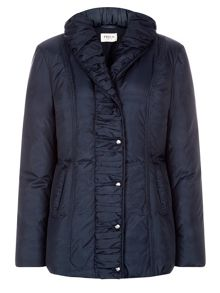 Mid Length Navy Ruched Coat