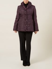 Mid Length Purple Ruched Coat