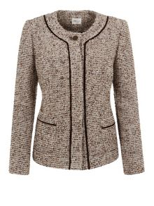 Tweed Velvet Trim Jacket