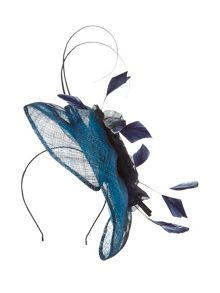 Navy trim fascinator
