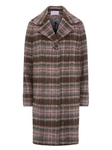 Soft Brushed Wool Check Coat