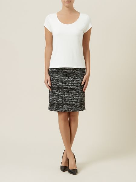 Minuet Petite Grey textured skirt