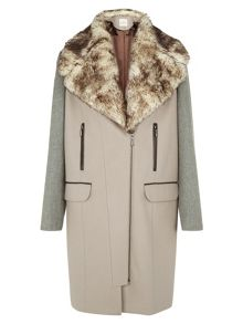 Neutral Colour Block Coat