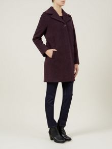 Aubergine Soft Brushed Wool Coat
