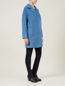 Blue Soft Brushed Wool Coat