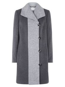 Grey Contrast Toggle Coat