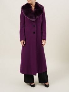 Long Shiraz Fur Collar Coat