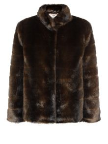 Chocolate Short Faux Fur Coat