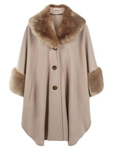Palomino Fur Trim Cape