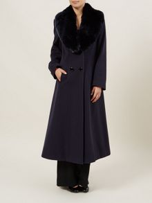 Long Navy Fur Collar Coat