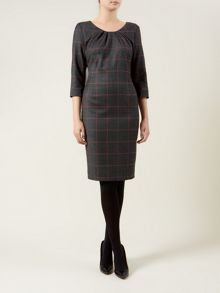 Charcoal Multi Check Shift Dress