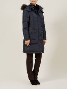 Navy Fur Hooded Coat